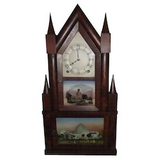 """Double Decker Steeple Clock"" made by ""Terry & Andrews"" with Original Reverse Painted Glass Tablets Circa 1835 !!!"