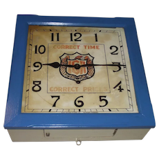 """Square """"IGA"""" Food Store Wall Clock used as Advertiser for """"Correct Time & Correct Prices"""" Ca. 1929 made by New Haven Clock Co."""