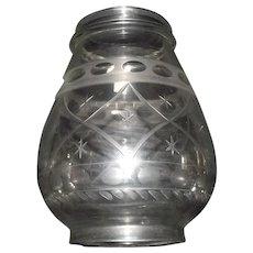 "Presentation Grade Blown Glass Lantern Globe Engraved with ""Quilted Diamonds & Stars"" Pattern !!!"