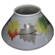 """Antique 14 inch Blown White Glass Slant Shade with Rolled Top Lip and  """"Fall Leaves"""" decorations Circa 1890 !!!"""