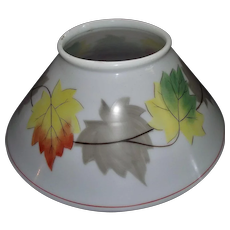 """""""Fall Leaves"""" decorated Antique 14 inch Blown White Glass Slant Shade with Rolled Top Lip circa 1890 !!!"""