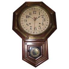 Rich Rosewood & Brass Trim Short-Drop Regulator Clock made by Waterbury Clock Co. Circa 1890 !!!