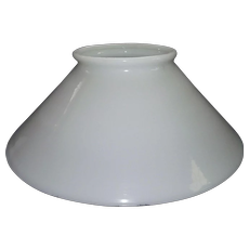 Antique 14 inch Blown White Glass Slant Shade with Rolled Top Lip Circa 1890.