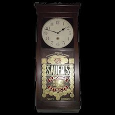 """Awesome Gold Foil """"Sauer's Extract"""" Advertising Store Regulator made by """"New Haven Clock Co."""" Circa 1917 !!!"""