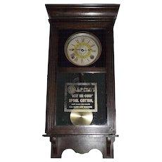 "Rare Half Size ""J. & P. Coats Spool Cotton"" Advertising Store Clock with Time & Strike Circa 1915 !!!"