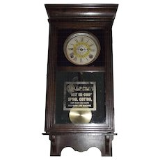"Rare Half Size ""J. & P. Coats Spool Cotton"" Advertising Store Clock with Time & Strike Circa 1915 !!!"