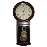 """Authentic """"Long Island Railroad"""" Clock in a Circa 1878 Early Seth Thomas # 2 Model Case with reverse Paint Decorated Glass !!!"""