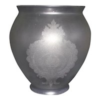 """Acid Etched Aesthetic Period """"Floral Wreath & Cartouches"""" Pattern on Hall Light Shade Circa 1890 !!!"""