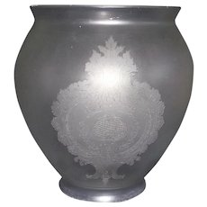 """Acid Etched Victorian """"Floral Wreath & Cartouches"""" Pattern on Hall Light Shade Circa 1890 !!!"""