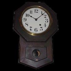 "Original Seth Thomas ""Octagon 8 inch Short Drop"" Wall Clock in Rare Solid Mahogany Case circa 1920's !"