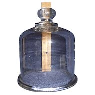 """Free Blown 6 inch High """"Glass Dome Cover"""" with Applied Ring Base & Knob Finial Circa 1860 to 1880 !!!"""