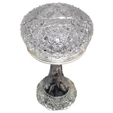 "Ladies ""Cut Crystal Glass""  Budoir Light with Nickel Plated Metal Hardware Circa 1920 !"