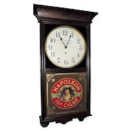 """Smith's Cigar Store & Pool Hall"" Clock with ""Napolean 10 Cent Cigars"" Advertising Glass on lower Glass Circa 1920 !!!"