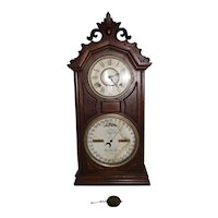 """Fancy Carved Top Ithaca """"Library # 8 Model"""" Calendar Shelf Clock in Walnut Case with Northville, Mich. Watchmaker's Provenance !!!"""