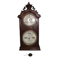 "Fancy Carved Top Ithaca ""Library # 8 Model"" Calendar Shelf Clock in Walnut Case with Northville, Mich. Watchmaker's Provenance !!!"