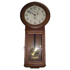 "Authentic ""Pittsburgh & Lake Erie Railroad Co."" Seth Thomas #2 Regulator Clock in Museum Quality Golden Oak Case Circa 1925 !!!"
