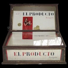 "Tin Advertiser ""Cigar Box Showcase"" with Lifting & Sliding Glass Covers !"