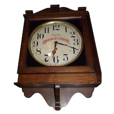 """Ward's Orange Crush"" Advertising Gallery Clock made by the ""Wm. Gilbert Clock Co."" in an aged Oak Case Circa 1920's !"