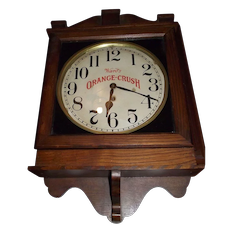 """Ward's Orange Crush"" Advertising Gallery Clock made by the Clock Co. in an aged Oak Case Circa 1920's !"