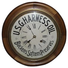 """Authentic 16 inch """"U.S.G. Harness Oil"""" Advertising Gallery Clock with Time & Strike !!! Circa 1910 to 1940."""