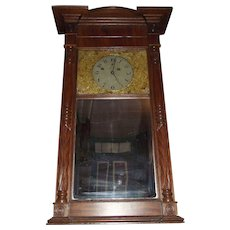 "Rare ""Asa Munger * Looking Glass Clock"", aka Mirror Clock Circa 1860's in Solid Mahogany Case !!!"