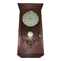 """Rare """"American Clock Company"""" Battery Powered Regulator with Deluxe Oak Carved Case circa 1905 !!!"""