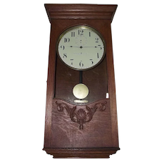 "Rare ""American Clock Company"" Battery Powered Regulator with Deluxe Oak Carved Case circa 1905 !!!"