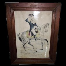 """Hand Colored """"Gen. George Washington * The Father of His Country """" EARLY 1838 to 1856 """"Lith. & Pub. by N. Currier at 2 Spruce St. NY.  # 60 !!!"""
