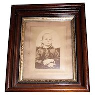 Deep Victorian Solid Walnut Frame with Sprightly Girl Pictured circa 1880 - 1900 ! Great for matting an 8 inch  X 10 inch photo.