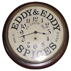 """Eddy & Eddy Spices"" Advertising Clock made by Waterbury Clock Co. Circa 1900 !"