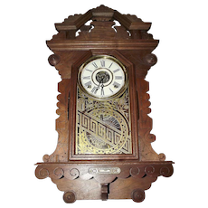 "Walnut Gingerbread Wall Clock ""Crown Drop"" model made by the ""E. Ingraham Clock Co."" Circa 1890 !"