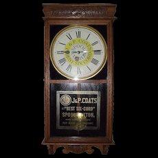 "Full Size Store Advertiser  ""J. & P. Coats Spool Cotton"" Clock Circa 1920's !!!"
