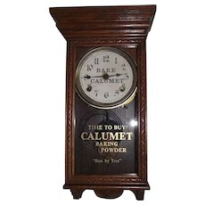 """Rare Salesman Sample Size Advertiser Clock for """"Calumet Baking Powder"""" marked on the Dial & Glass Tablet !!! Circa 1915-1940."""