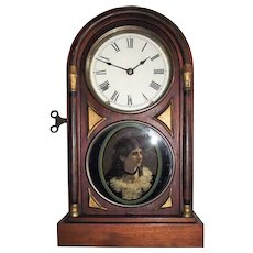 """Seth Thomas Deluxe """"Chicago City Series"""" Rosewood Shelf Clock with """"Cat-Eye Female Portrait"""" on Lower Glass Tablet, Factory Dated 1884 !!!"""