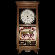 """Rare """"ACME Wagons"""" Advertising Store Regulator Clock in an Oak Case marked Regulator Model No. 1 made by The Sessions Clock Co. Circa 1925 !"""