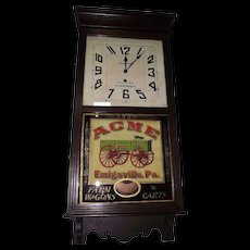 """Rare """"ACME Wagons"""" Advertising Store Regulator in a Dark Walnut Stained Case made by The Sessions Clock Co. Circa 1925 !"""