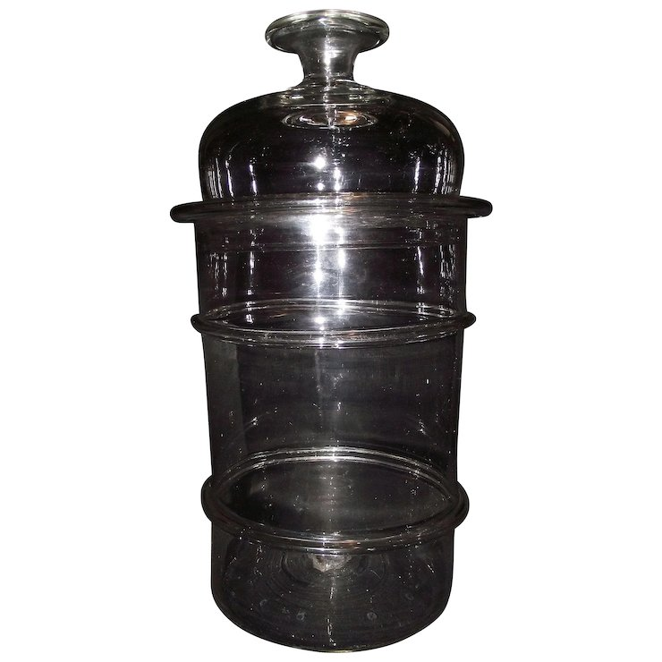 Extra Large Clear N Gl Apothecary Jar With Lied Rings And A Rare 2 Part