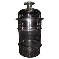 Extra Large Clear Blown Glass Apothecary Jar with applied Rings and a Rare 2 Part Blown Glass Lid & Finial Circa 1860's !!!