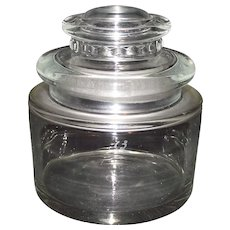 """Double Thick EAPG Squat Shaped """"Scientific / Medical Jar"""" with Molded Lid Ca. 1900."""