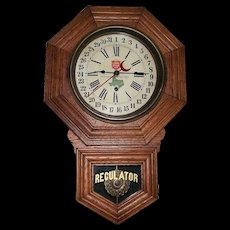 """Rare  """"Lone Star Beer"""" Octagon Short Drop, Solid Oak Clock advertising """"The National Beer of Texas * Since 1845""""  !!!"""