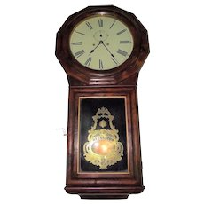 """RARE Seth Thomas #1 Extra """"T & S"""" Regulator with Burl Rosewood Front & Rosewood Sides and MA. Provenance !!! Clock is post 1865."""
