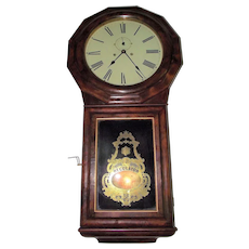 "Seth Thomas Regulator No.1 Extra with ""Time & Rare Strike"" Model with Burl Rosewood Front & Rosewood Sides and MA. Provenance !!! Clock is post 1865."