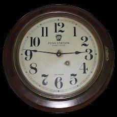 """Pennsylvania Railroad"" Oak Gallery Clock made by Seth Thomas Clock Co. circa 1920 !"