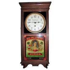 """El Florio Aristocrat Cigars"" on Advertising Clock lower Glass with ""Smith's Cigar Store & Pool Hall"" on the Dial Circa 1920's !!!"