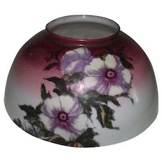 "Antique 14 inch Blown Glass Library Lamp Shade with Original ""Hibiscus"" Factory Flower Decorations with Burgundy fading to White Background Shading !!! Circa 1890."