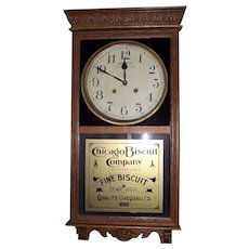 """""""Chicago Biscuit"""" Store Advertiser with """"Time & Strike"""" made by Welsh Clock Co. in a Golden Oak Case Circa 1925 !!!"""