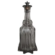 "Blown ""Pillar Molded Decanter"" aka ""River Boat Glass"" from Pittsburgh area with original Pewter Spout Circa 1860's !!!"