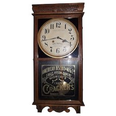 Full Size Store Regulator for * American Biscuit & Cracker Mfg. Company * Eagle Steam Bakery * Midwest Finest Crackers * Davenport,Iowa * Advertiser Clock Circa 1920's !!!