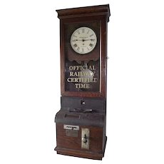 """Large """"Baltimore & Ohio Railroad Company"""" Employee Time-Stamp Clock from the Freight Sales Office in the """"Metropolitan Building * Akron,Ohio"""" !!!"""