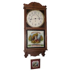 """""""Dick Custer"""" Cigar Store Advertising Clock made by  Circa 1910's to 1920's with Framed Original Cigar Box Label !!!"""